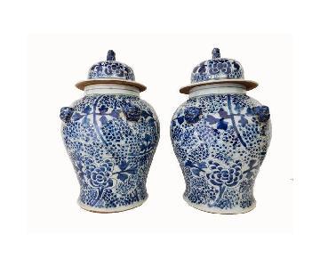 Porcelain Blue & White Floral Ginger Jars
