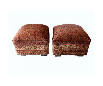 Antique Tribal Herat Rug Upholstered Ottomans