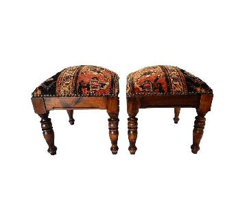 Antique Malayer Rug Stools