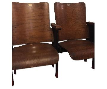 Vintage Wooden Foldable Theater Seats