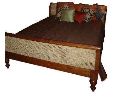 Solid Teak Queen Sleigh Bed w/ Caned Headboard/Footboard