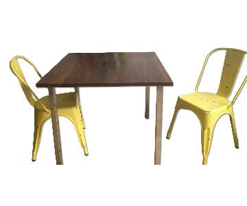 Room & Board Small Square Table w/ 2 Industrial Chairs