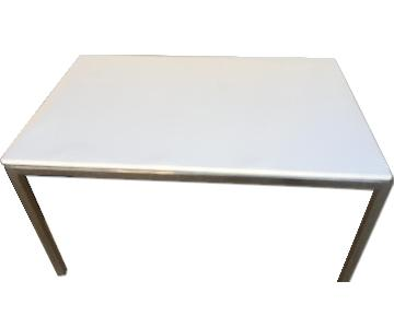 Ikea Torsby Chrome Plated High Gloss White Table