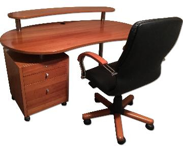 Two Tier Modern Solid Cherry Wood Desk w/ Filing Cabinet & L