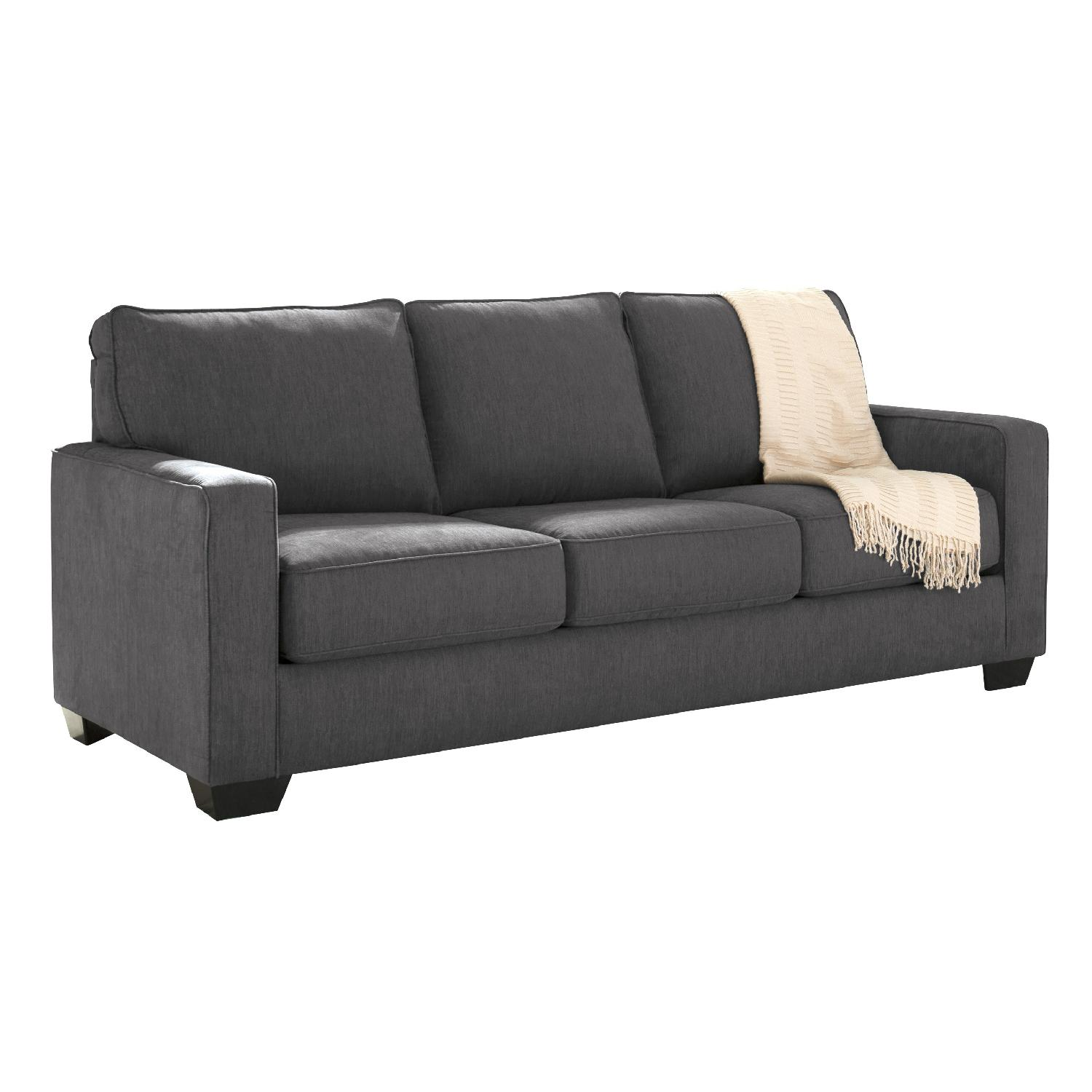 Ashley's Zeb Contemporary Queen Sleeper Sofa in Charcoal Color Fabric
