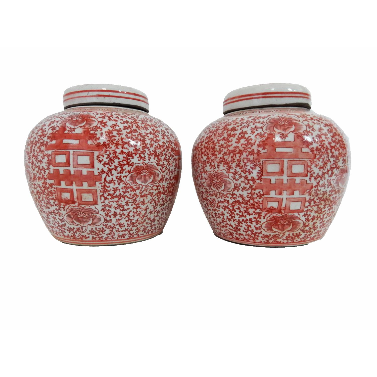 pink u0026 white porcelain double happiness ginger jars