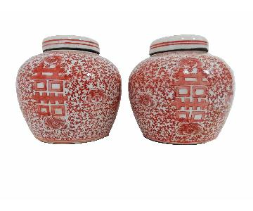 Pink & White Porcelain Double Happiness Ginger Jars