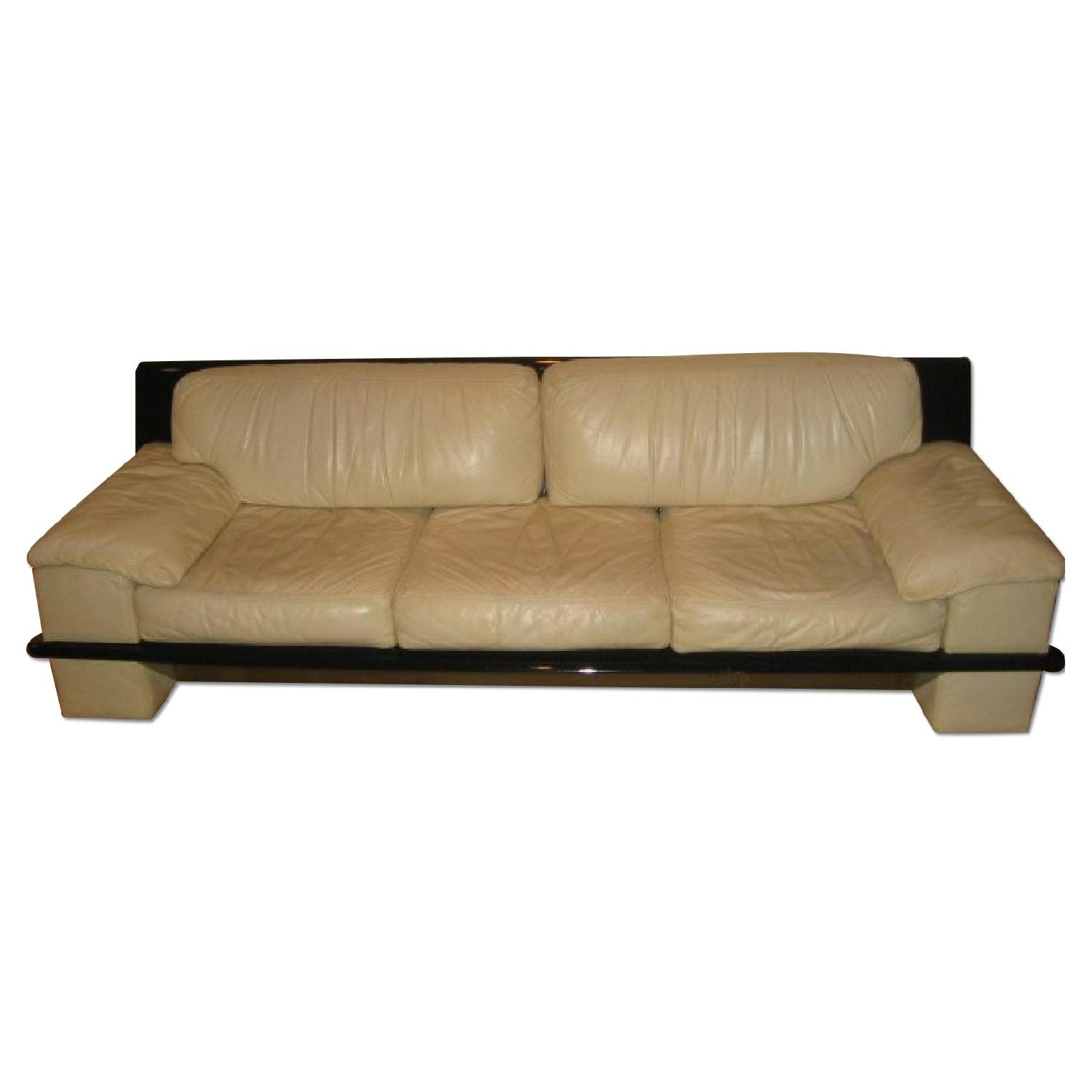 Ivory White Leather w/ bBack Lacker Solid Wood Trim Sofa + L