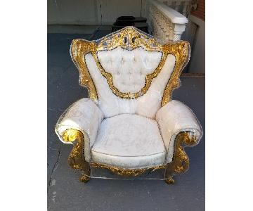Vintage Rococo Style Sofa + Loveseat + 2 Chairs