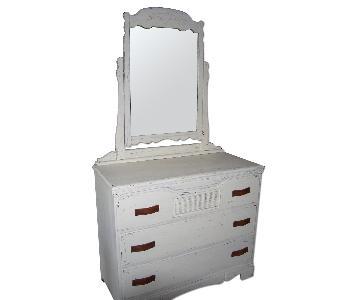 Vintage Shabby Chic White Dresser w/ Mirror