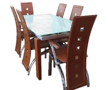 Art Deco Expandable Table w 6 Chairs + Bar