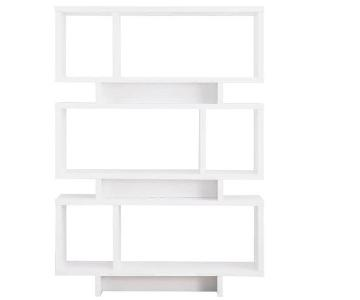 Modern Reversible Bookcase in White Finish