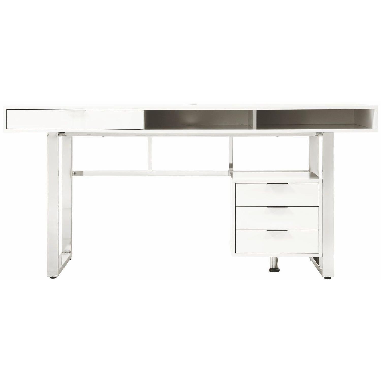 Contemporary Writing Gloss White Desk w/ Chrome Legs & Storage Drawers