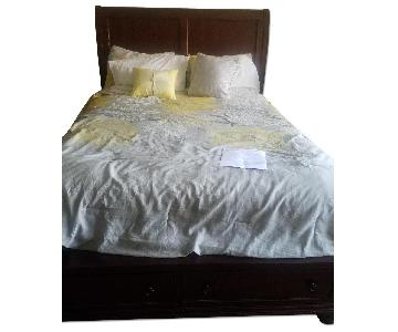 Raymour & Flanigan Queens Size Cherry Wood Bed Frame