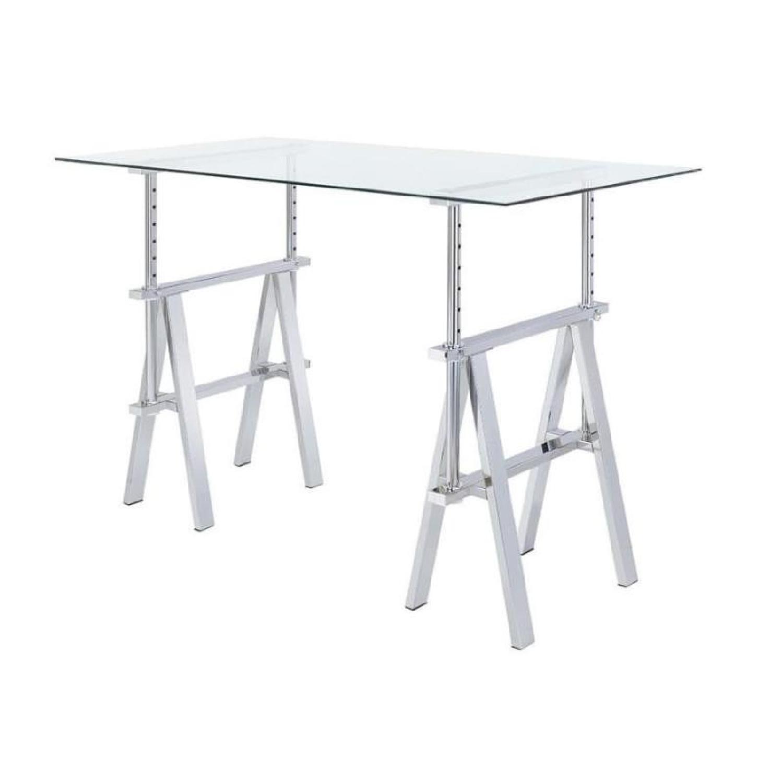 Height Adjustable Writing Desk w/ Glass Top & Sawhorse Legs