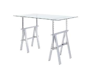 Height Adjustable Writing Desk w/ Glass Top & Sawhorse Legs