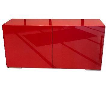 Modern Red Lacquer Console Table