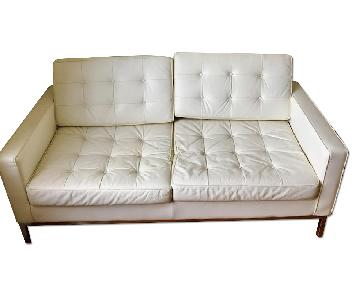 Modern Button Florence Loveseat in White Leather
