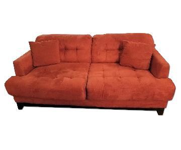 Value City Furniture Red Microfiber Sofa