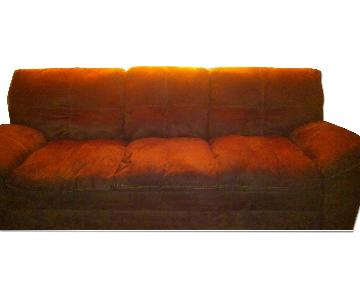 Coaster Fine Furniture Mocha Suede Couch w/ Baseball Stitchi