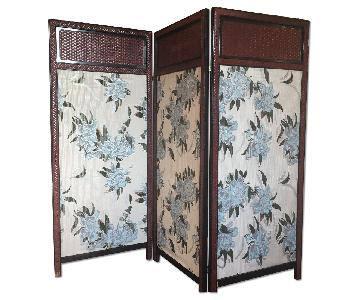 Vintage French Style Tri-Panel Silk Room Divider