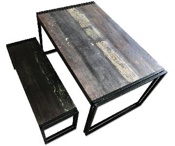 Reclaimed Wood & Iron Dining Table w/ 1 Bench