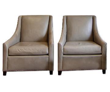 West Elm Elephant Grey Leather Armchair