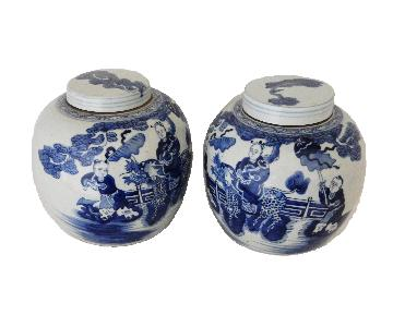 B & W Porcelain Hundred Boys Motif Ginger Jars