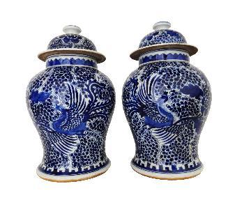 Porcelain Large B & W Ginger Jars