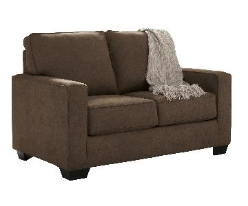 Ashley's Zeb 2 Seater Contemporary Twin Sleeper Sofa in Brow