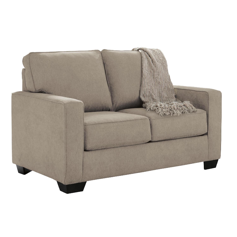 Ashleyu0027s Zeb Contemporary 2 Seater Twin Sleeper Sofa In Khaki Color Fabric  ...