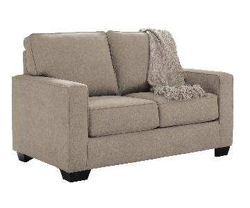 Ashley's Zeb Contemporary 2 Seater Twin Sleeper Sofa in Khaki Color Fabric