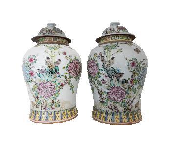 Famille Rose Porcelain Ginger Jars w/ Birds