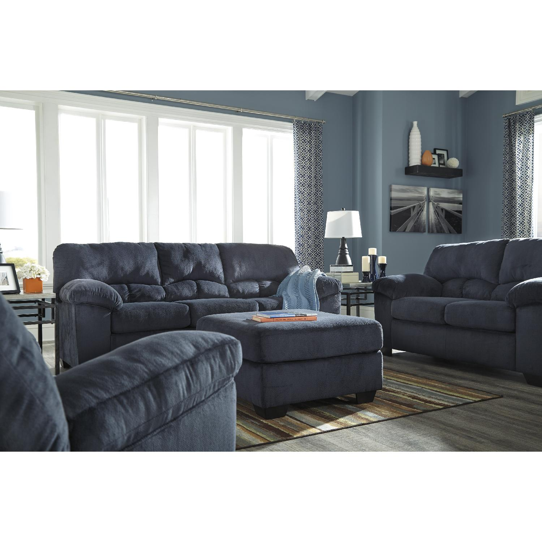 Fabric Midnight Contemporary Full Sleeper Sofa In Dark Navy Color Fabric