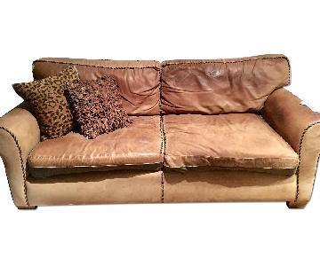 Ralph Lauren Style Leather Sofa in Dark Tan