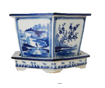 Blue & White Hexagonal Porcelain Jardiniere