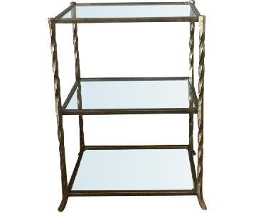 Crate & Barrel Tiered Glass Shelf/Barware Storage
