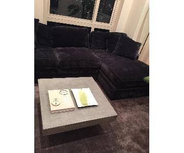 Macy's Dark Grey Fabric 2-Piece L-Shaped Sectional Sofa