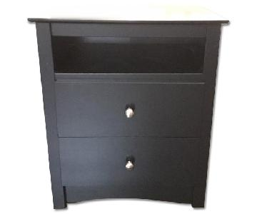 Walmart Black Nightstands w/ 2 Drawers & 1 Shelf