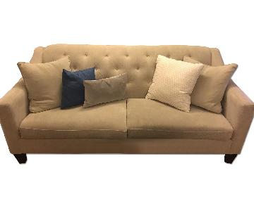 Raymour & Flanigan Tan Tufted Back Couch