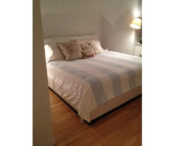 King Size White Leather Bed w/ Storage