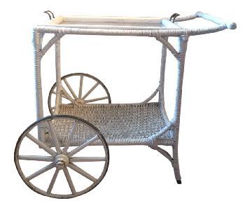 Vintage Wicker Bar Cart