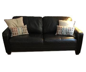 Raymour & Flanigan Full Size Leather Sleeper Sofa