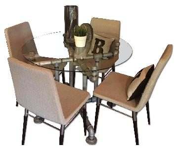 Handmade in Brooklyn Industrial Dining Table w/ 4 Chairs