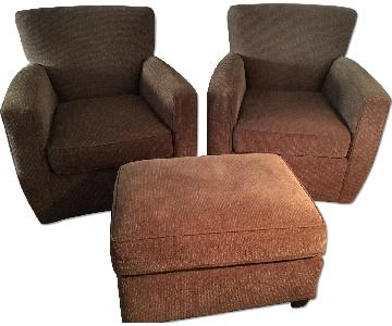 Crate & Barrel Swivel Chairs & Ottoman