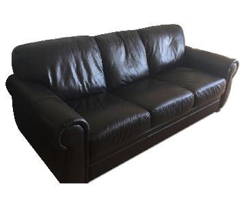 Raymour & Flanigan Marsala Leather Sleeper Sofa + Loveseat