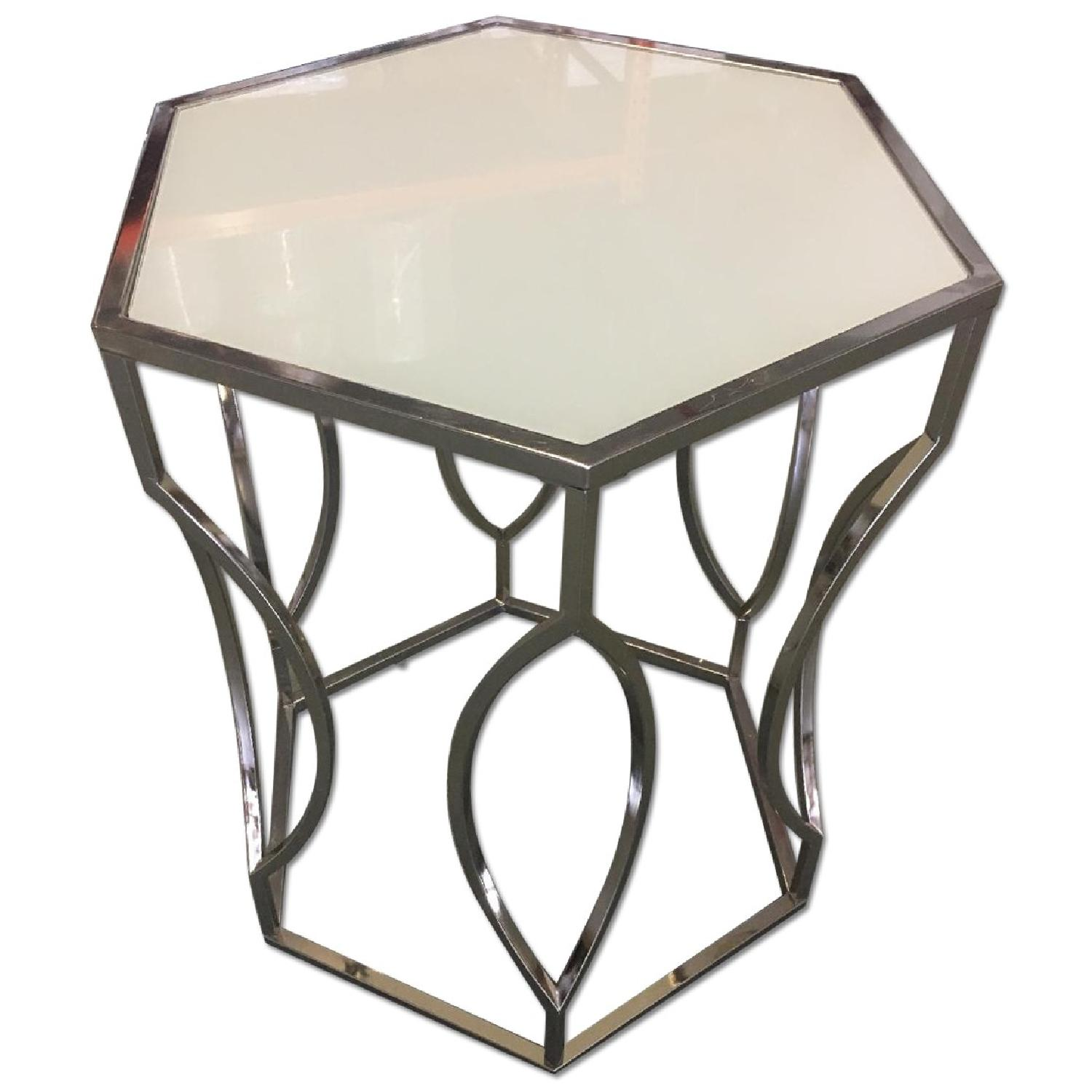 Givenchy Chrome End Tables w/ White Glass Top