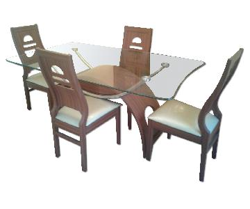Glass Dining Room Table w/ 4 Chairs