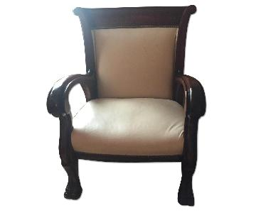 Vintage Leather & Wood Arm Chair