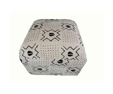 LG White & Black Mud Cloth Ottoman